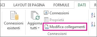 Modifica collegamenti nella scheda Dati