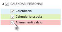 Calendari con le caselle di controllo elencate nel riquadro delle cartelle