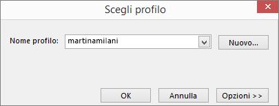 Finestra di dialogo Scegli profilo con il nome del nuovo profilo