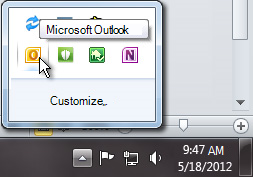 Area di notifica espansa per mostrare l'icona di Outlook