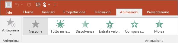 Mostra la scheda Animazioni sulla barra multifunzione di PowerPoint