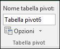Rinominare una tabella pivot da Strumenti tabella pivot > Analizza > casella Nome tabella pivot