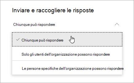 Opzioni di condivisione in Microsoft Forms