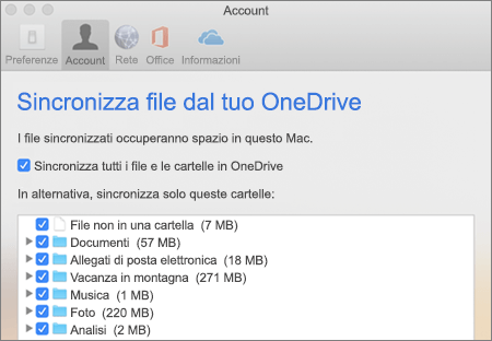 Finestra di dialogo Sincronizza cartelle per OneDrive per Mac