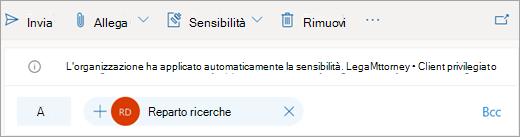 Screenshot di un suggerimento relativo a un'etichetta di sensitività applicata automaticamente