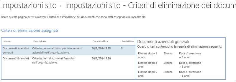 Criteri di eliminazione documenti assegnati a una raccolta siti