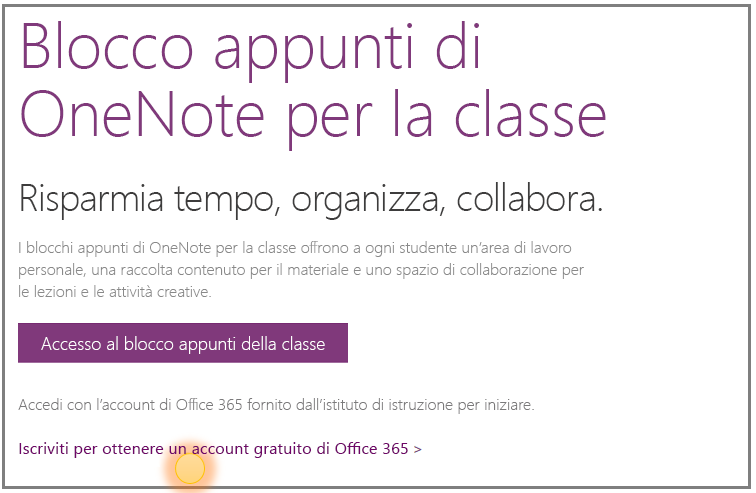 Screenshot su come ottenere un account gratuito di Office 365.