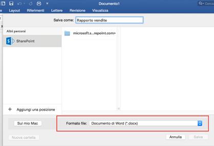 Usare lo strumento Formato file in Salva con nome in Word per selezionare altri formati di salvataggio, ad esempio PDF