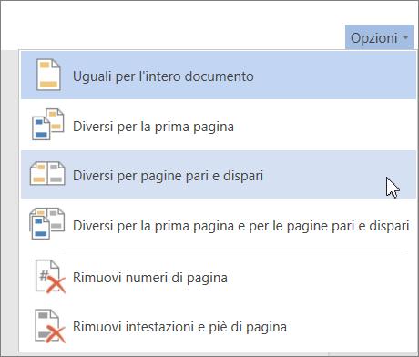 Opzione Diversi per le pagine pari e dispari