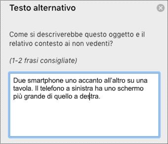 Testo alternativo in Outlook per Mac.