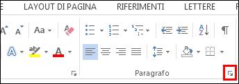 Finestra di dialogo Paragrafo di Word