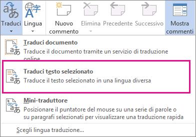 Traduci testo selezionato