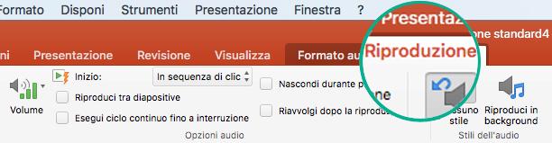 Quando si seleziona un clip audio in una diapositiva, sulla barra multifunzione viene visualizzata la scheda Riproduzione che consente di impostare le opzioni di riproduzione.