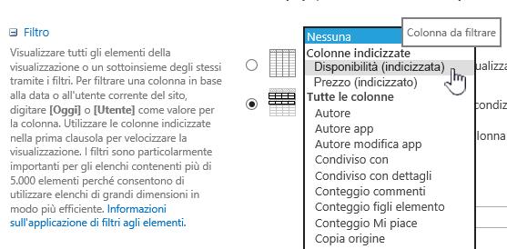 In SharePoint Online, selezionare un campo indicizzato