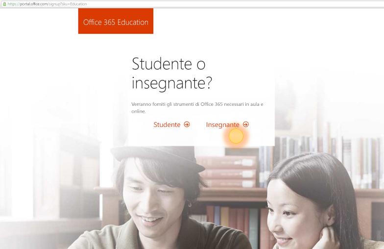 Screenshot delle opzioni di accesso per gli insegnanti o gli studenti