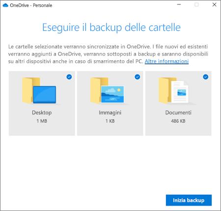 Screenshot della finestra di dialogo Imposta protezione delle cartelle importanti in OneDrive