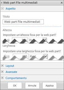 Schermata dell'angolo di un riquadro di modifica della web part File multimediali che mostra alcune proprietà configurabili