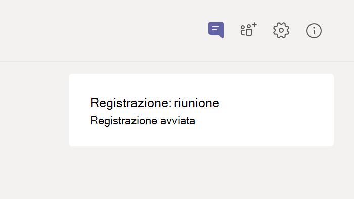 Riunione registrazione notifica nella riunione chat