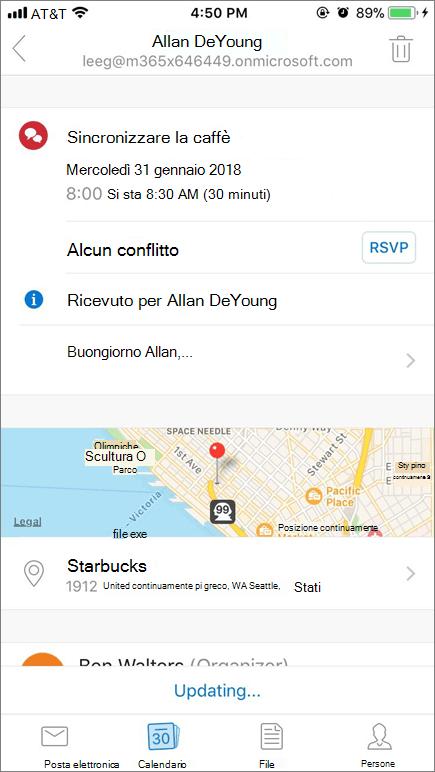 Screenshot di schermata di dispositivo mobile con elemento invito a calendario.