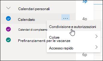 Screenshot del cursore che passa sopra Condivisione e autorizzazioni in un menu di scelta rapida del calendario