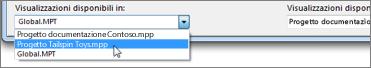 Selezione di un file di progetto di destinazione nella libreria di Project