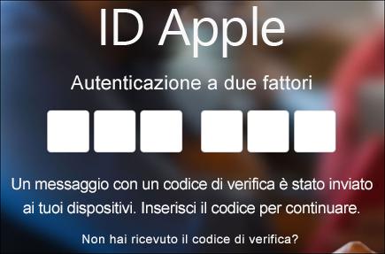 Immettere il codice di autenticazione a due fattori