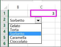 La cella collegata mostra il numero dell'elemento selezionato.