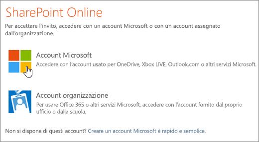 Screenshot della schermata di accesso a SharePoint Online.
