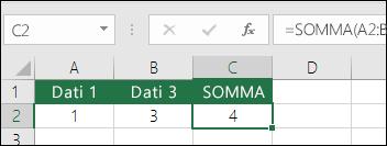 La funzione SOMMA viene regolata automaticamente in base alle righe e colonne inserite o eliminate