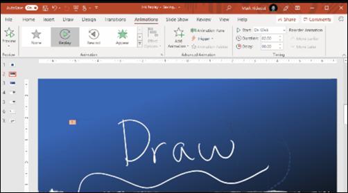 Diapositiva di PowerPoint con testo scritto a mano e opzioni per la riproduzione input penna su cui si sta facendo clic
