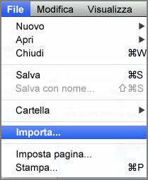 Importa nel menu File