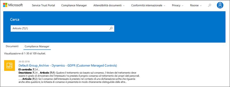 Servizio protezione portale - ricerca i controlli di Gestione conformità