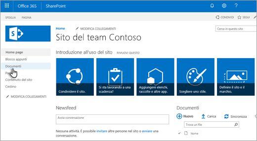 Office 365 Team sito: scegliere documenti