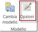 pulsante delle opzioni di modello in publisher 2013