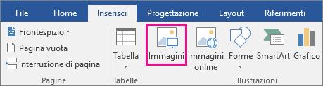 Icona Immagini evidenziata nella scheda Inserisci