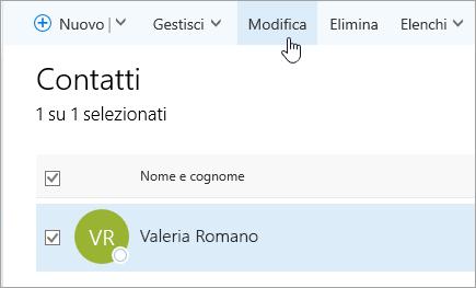 Screenshot del cursore posizionato sul pulsante Modifica nella pagina Persone.