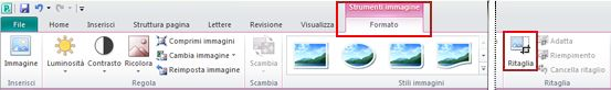 Comando Ritaglia nella scheda Formato di Strumenti immagine sulla barra multifunzione di Publisher