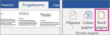 Icona Bordi pagina evidenziata nella scheda Progettazione