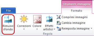 Il pulsante Rimuovi sfondo nella scheda Formato di Strumenti immagine sulla barra multifunzione di Office 2010