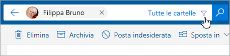 Screenshot del pulsante del filtro nella barra di ricerca