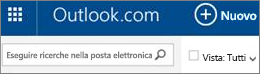 Barra dei menu in Outlook.com