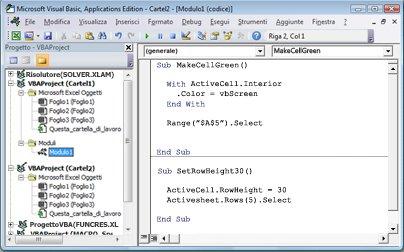 Modulo contenente due macro archiviate in Modulo1 di Cartel1