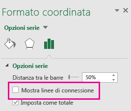 Riquadro attività Formato dato con la casella Mostra linee di connessione deselezionata in Office 2016