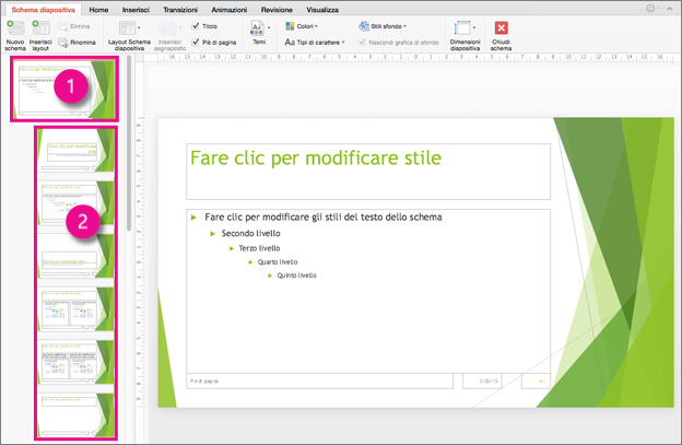 Schema diapositiva e layout diapositiva