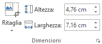 Pulsante Ritaglia e le caselle Altezza e Larghezza per le immagini sulla barra multifunzione di Office 2016