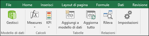 Menu di Power pivot sulla barra multiFunzione di Excel
