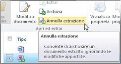 Icona Annulla estrazione sulla barra multifunzione di SharePoint
