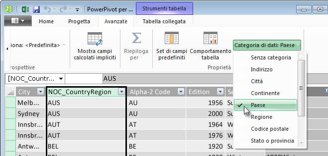 Categorie di dati in PowerPivot