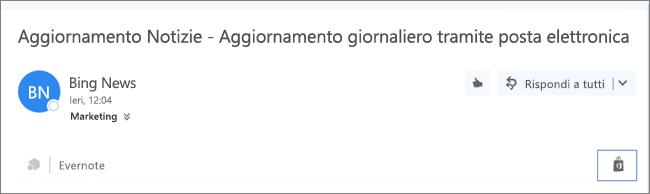 Screenshot di un estratto della parte superiore di un messaggio e-mail con l'icona Store evidenziata. Fare clic sull'icona per aprire la finestra Componenti aggiuntivi per Outlook, in cui è possibile cercare e installare componenti aggiuntivi.