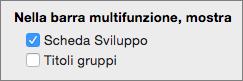 Quadratini dei suggerimenti dei tasti di scelta sulla barra multifunzione in cui sono indicati i tasti di scelta rapida